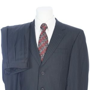 Jos A Bank Signature Gold Black Pinstripe Suit